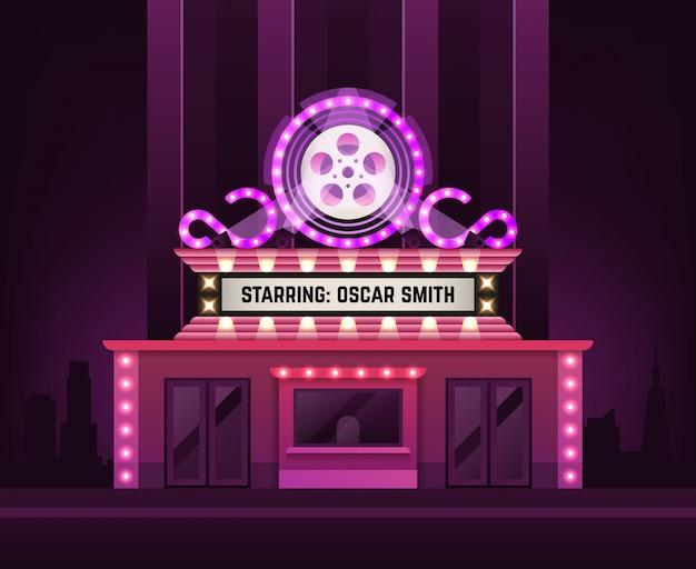 Kino theater gebäudehülle. filmeingang mit retro- heller festzeltfahnenillustration