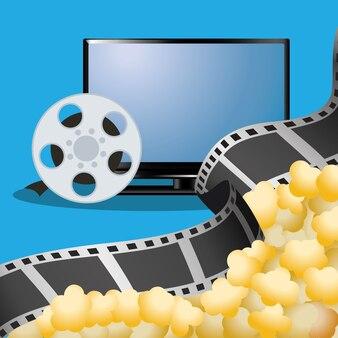 Kino-tv-filmrolle mit popcorn-poster