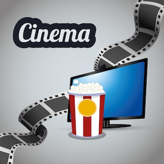 Kino tv lcd-streifen film mit eimer popcorn
