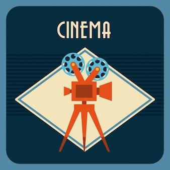 Kino über blauem hintergrund