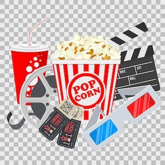 Kino- und filmfahne mit popcorn, eintrittskarten und 3d-brille lokalisiert auf transparentem hintergrund