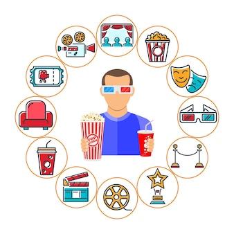 Kino- und filmsymbole für flache und farbige linien. popcorn, auszeichnung, filmklappe, tickets, 3d-brille und betrachter.