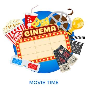 Kino- und filmzeitbanner mit flachen symbolen film, popcorn, schild, 3d-brille, auszeichnung und tickets. isoliertes vektorillustrationsplakat