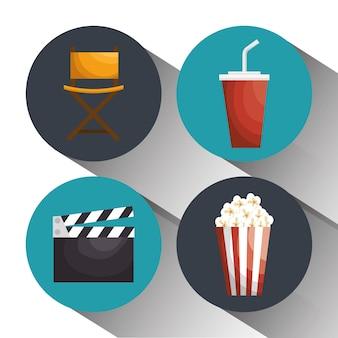 Kino unterhaltung elemente symbole