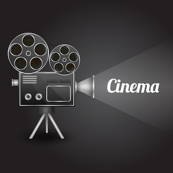 Kino unterhaltung konzept poster layout vorlage mit retro-kamera-projektor vektor-illustration