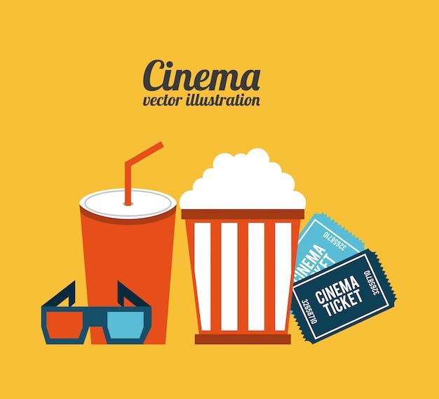 Kinodesign über orange hintergrundvektorillustration