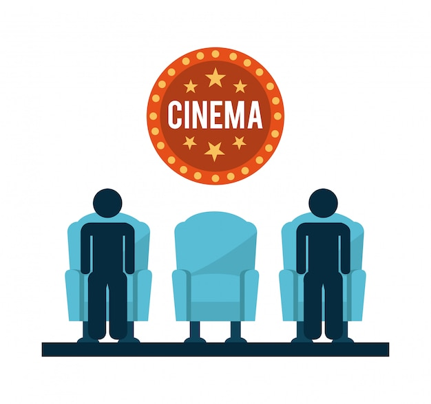 Kinodesign über weißer hintergrundvektorillustration