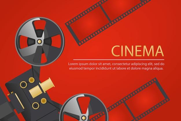 Kinofahne mit weinlese-kamera der alten schule und spule des filmes auf rotem hintergrund