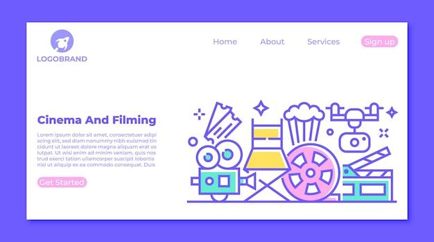 Kinofilm- und videografie-drohnen-landingpage-konzept