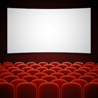 Kinofilmhalle mit weißem leerem bildschirm.