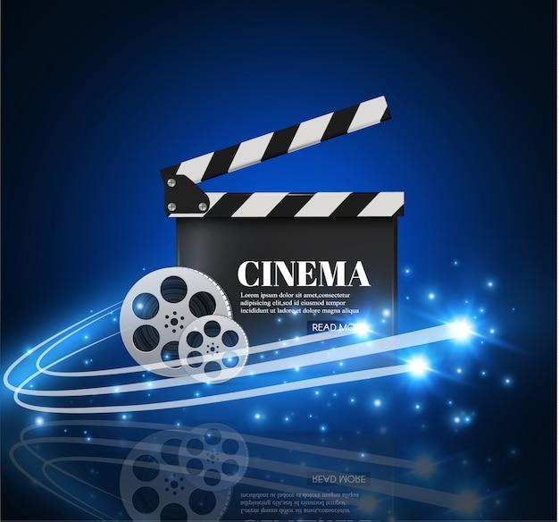 Kinohintergrund mit film. blauer hintergrund mit hellem stern. clapper board.