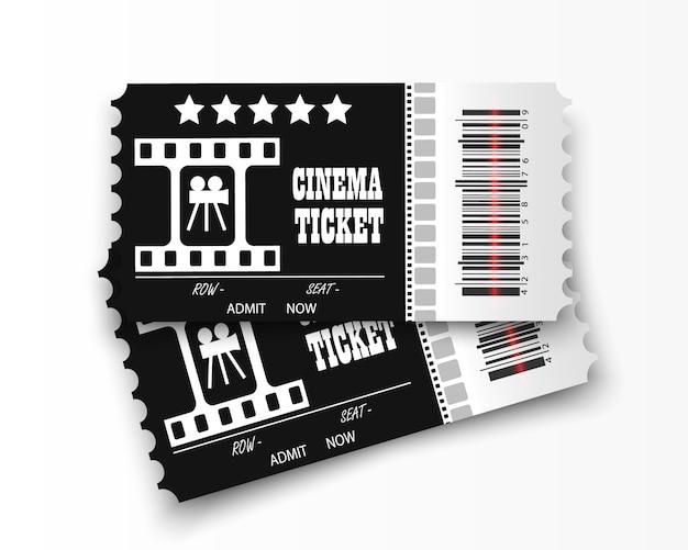 Kinokarten auf transparentem hintergrund. realistische kinokarte.