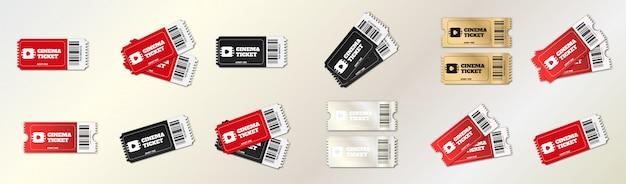 Kinokarten festgelegt. handkarte für zirkus, kino und konzert.