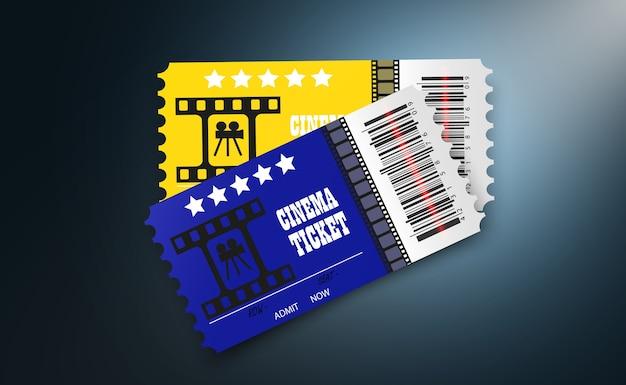 Kinokarten isoliert auf transparentem hintergrund. realistische kinokarte.