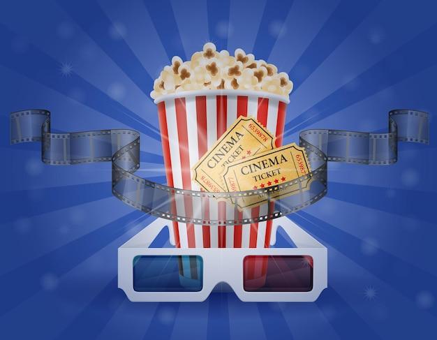 Kinokonzept popcorn-filmtickets und 3d-brille zum anzeigen stockillustration
