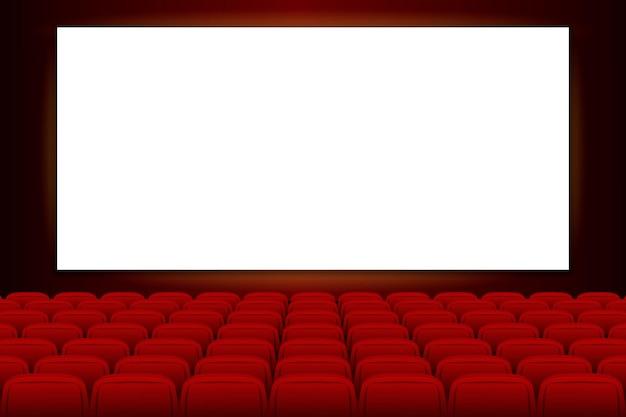 Kinoleinwand mit leerer bühne für film kinokino mit leerem bildschirm und rot