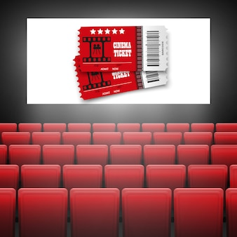Kinoleinwand mit roten sitzen. grafikkonzept für ihr .movie cinema premiere poster design mit weißem bildschirm.