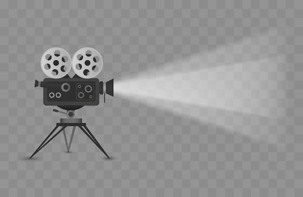 Kinoprojektor lokalisiert auf transparenter hintergrundvektorillustration