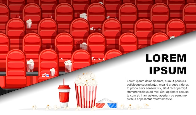 Kinosaal mit roten bequemen sesseln