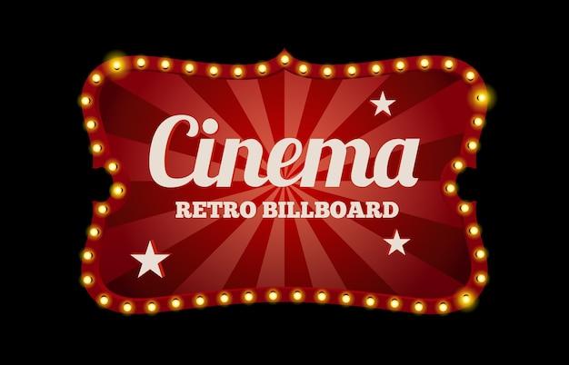 Kinoschild oder plakatwand im retro-stil, umgeben von neonlichtern auf schwarz