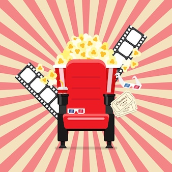 Kinositze in einem kino mit popcorngetränken und -gläsern