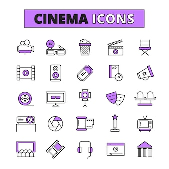 Kinosymbole umrissene ikonen eingestellt