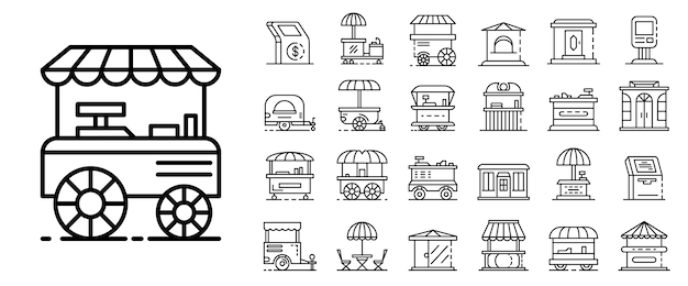 Kiosk-icon-set. umrisssatz kioskvektorikonen