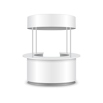 Kioskstand stand theke promo vektor 3d-ausstellung runder tisch design. kioskladen.