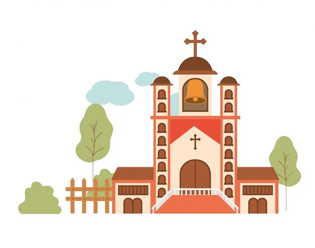 Kirche mit frontansicht in landschaft