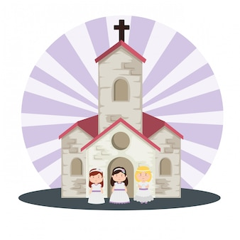 Kirche und mädchen mit kleid zur erstkommunion
