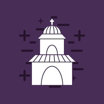 Kirchenikone über purpurrotem hintergrund, buntes design. vektor-illustration