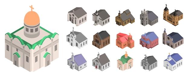 Kirchenikonensatz. isometrischer satz kirchenvektorikonen für das webdesign lokalisiert auf weißem hintergrund