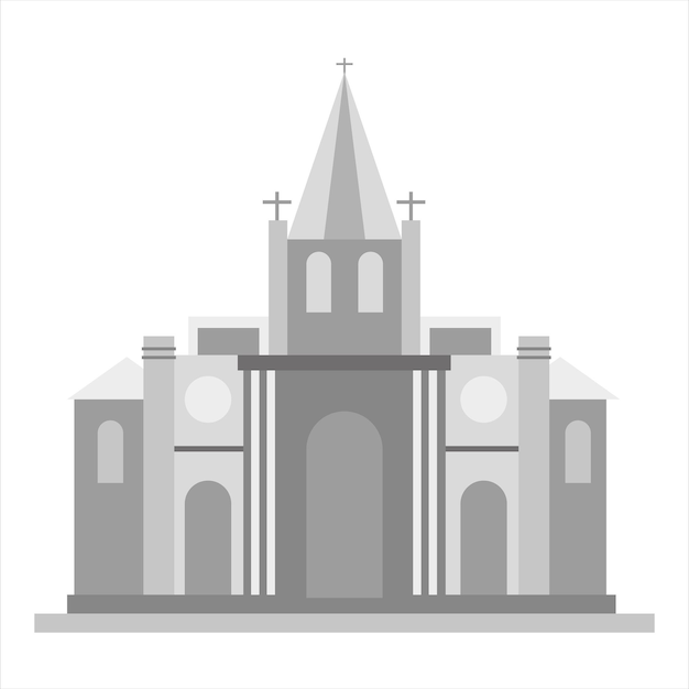 Kirchensymbol. graue einfarbige illustration der kirchenvektorikone für netz