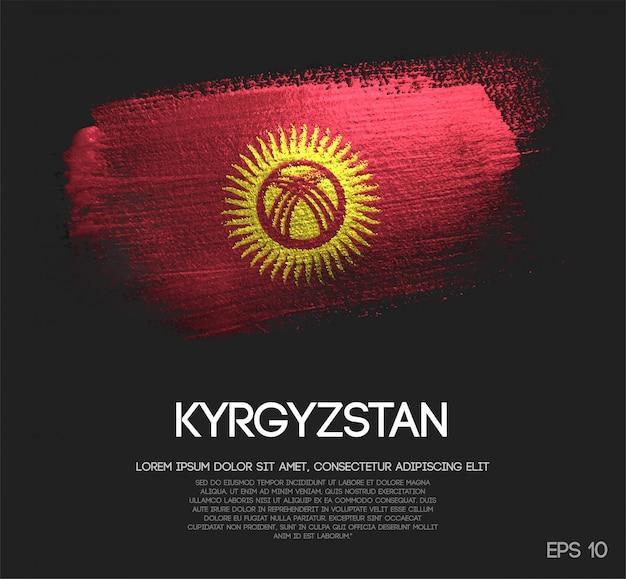 Kirgisistan flagge aus glitter sparkle pinselfarbe