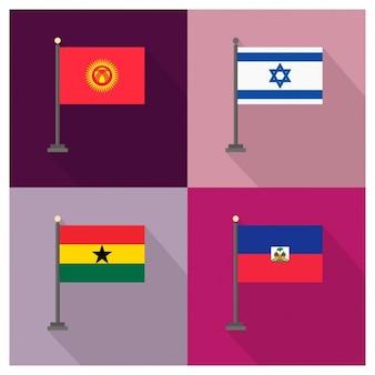 Kirgistan Israel Ghana Haiti Flags