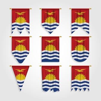 Kiribati flagge in verschiedenen formen, flagge von kiribati in verschiedenen formen