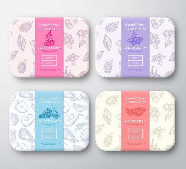 Kirsch-, himbeer-, blaubeer- und traubenkarton-set.