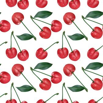 Kirsch nahtloses muster. gsweet rote reife kirschen isoliert