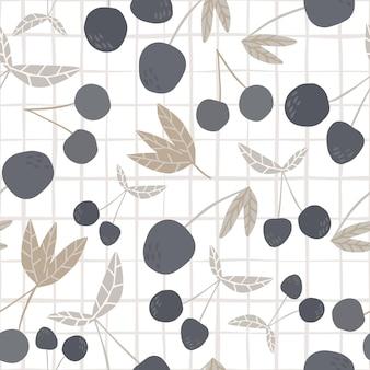 Kirschbeeren im skandinavischen stil und nahtloses muster der blätter. handgezeichnete kirschen auf streifenhintergrund. design für stoff, textildruck. sommerfruchtbeere tapete. vektor-illustration.