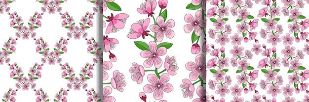 Kirschblüte nahtlose muster eingestellt blumentapeten naturtextilien und heimdrucke