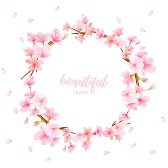 Kirschblüten-hintergrundrahmen mit hand gezeichneten blumen