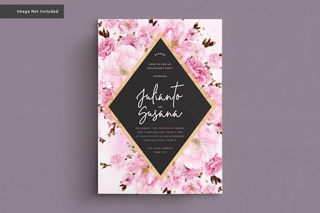 Kirschblütenaquarellhochzeitskarte