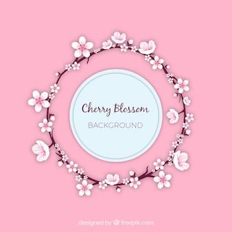 Kirschblütenhintergrund in der flachen art