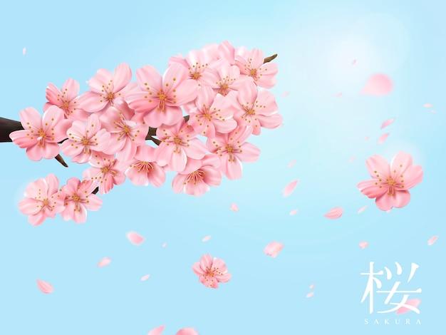 Kirschblütenzweig und fliegende blumen auf glänzendem blauem himmel in der illustration, kirschblüte im japanischen wort auf der rechten seite