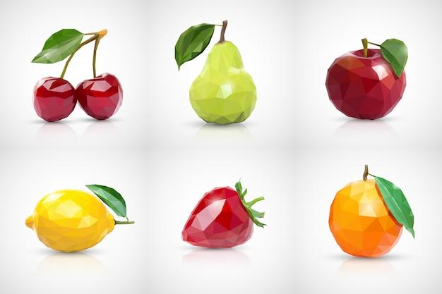 Kirsche, birne, apfel, zitrone, erdbeere und orange im stil von low poly