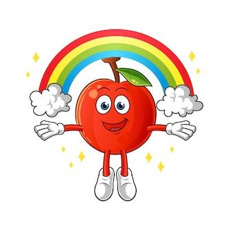 Kirsche mit einem regenbogenmaskottchen. karikatur