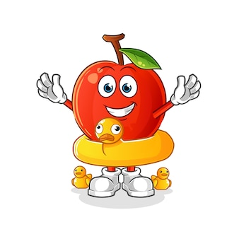 Kirsche mit entenbojenkarikatur. cartoon maskottchen