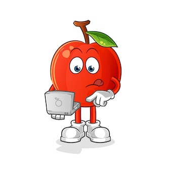 Kirsche mit laptop-maskottchen. karikatur