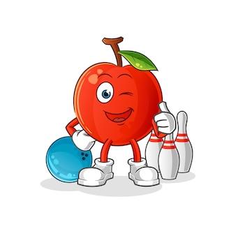 Kirsche spielen bowling illustration. charakter