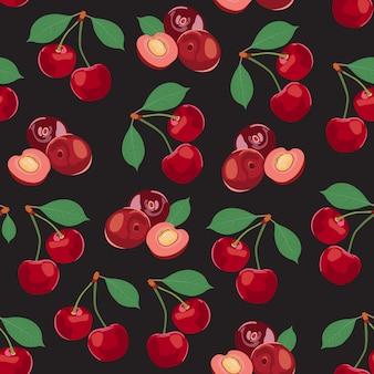 Kirsche trägt nahtloses muster früchte